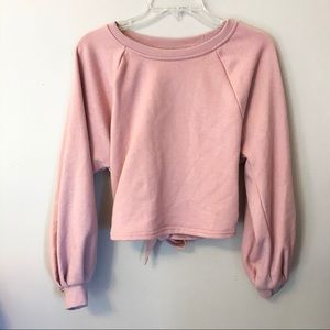 Tie Back Crewneck Sweatshirt Blush Pink Cropped